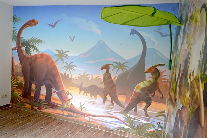 Dinosaurier Tapete am Stück