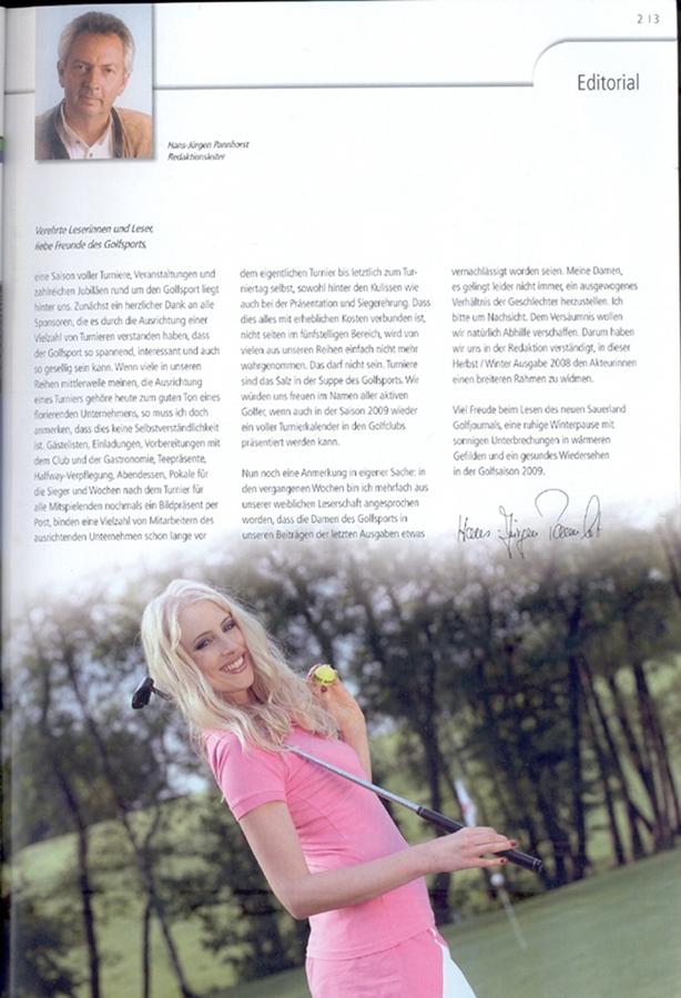 Elischeba im Sauerland Golfjournal 2008 - Editorial