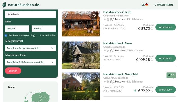 Ferienhäuser in den Niederlanden - Screenshot naturhäuschen.de