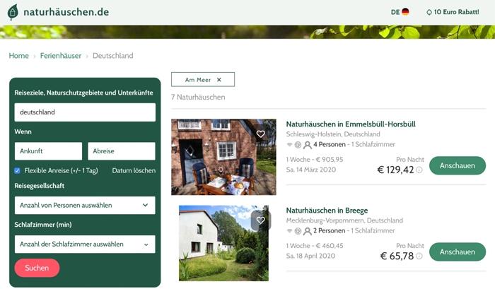 Ferienhäuser in Deutschland - Screenshot naturhäuschen.de