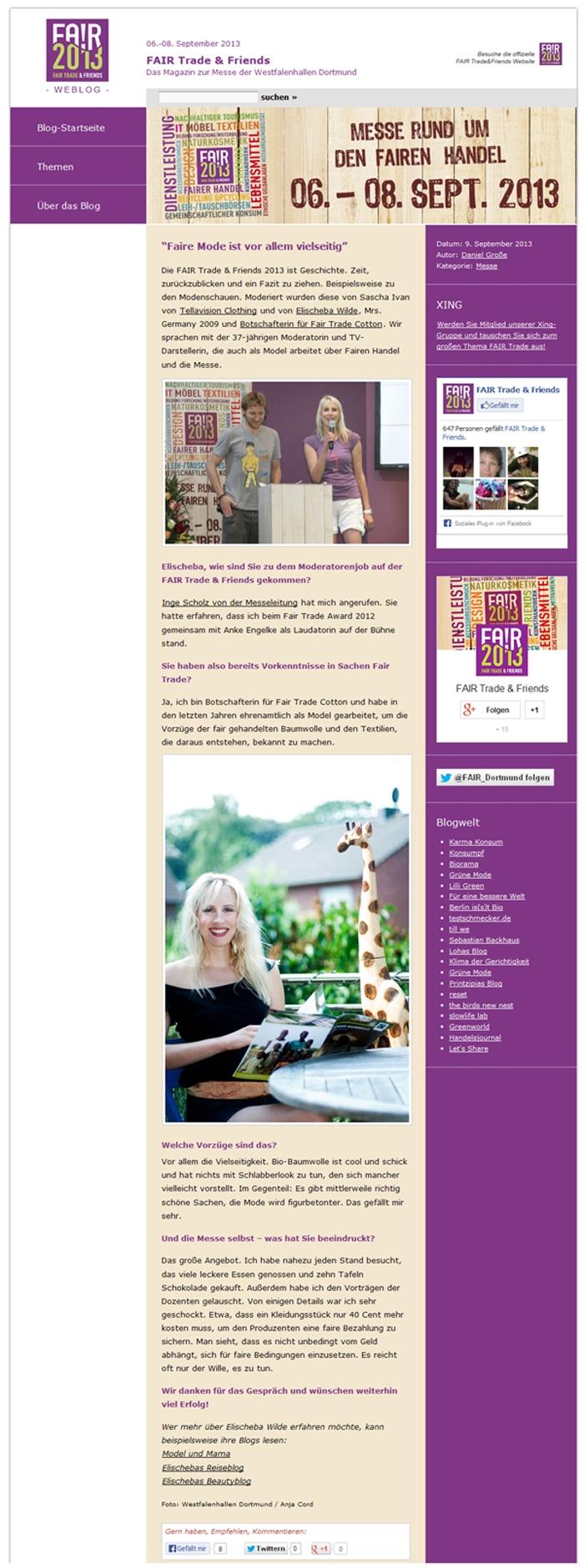 Elischeba im Interview mit dem Fair Trade and Friends Messeblog