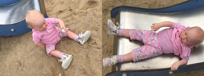Emily mit rosa Schuhen beim Spielen