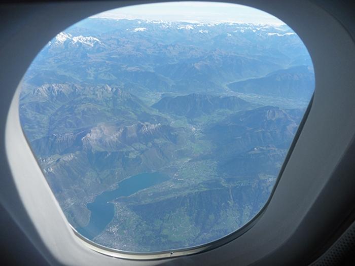 Blick auf die Alpen vom Flugzeug aus