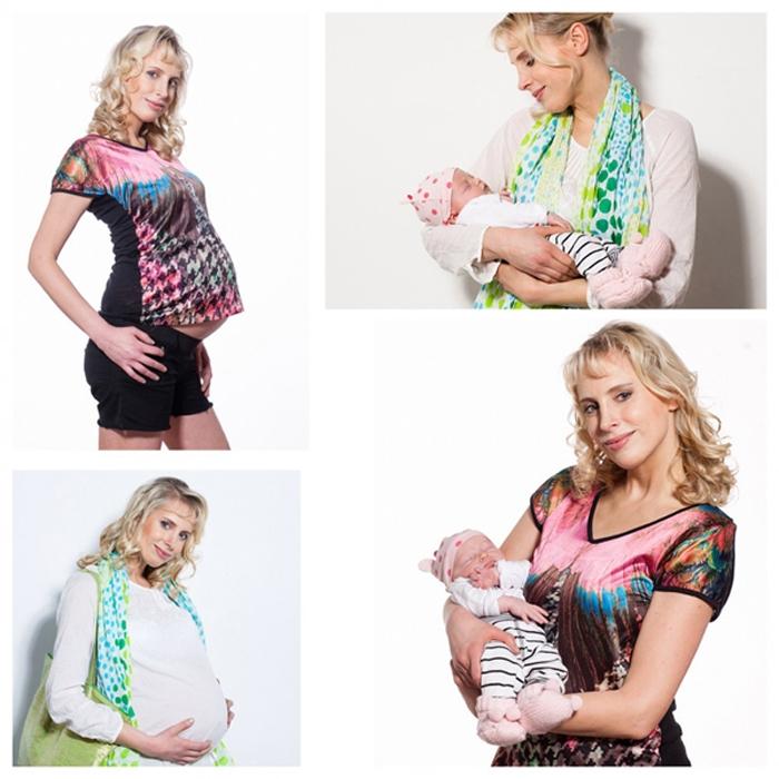 Elischeba mit Babybauch und Emily - Collage