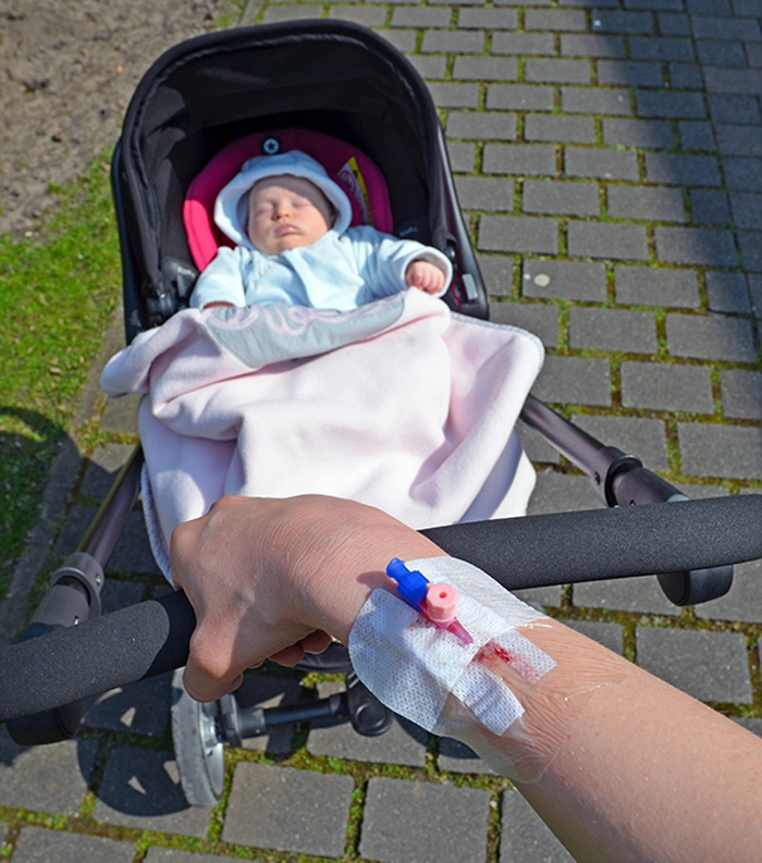 Spaziergang mit Emily im Krankenhaus